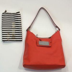 New Henri Bendel orange leather large hobo bag